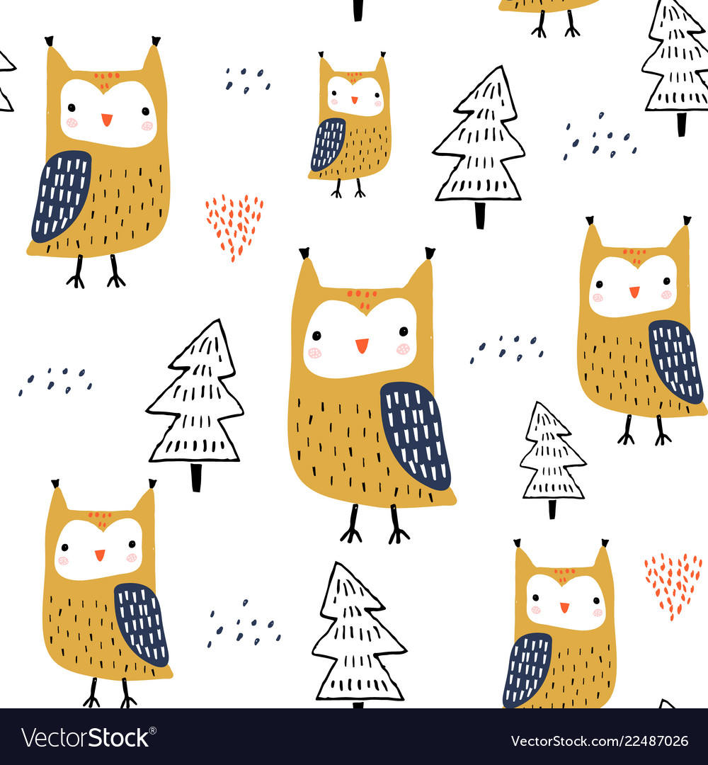 Seamless pattern with owls and trees creative