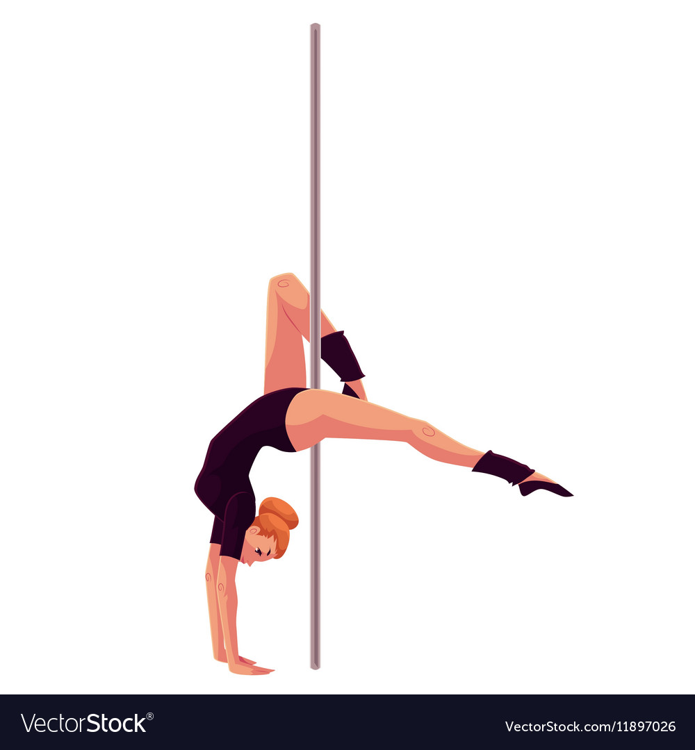 Young pole dance woman in black leotard doing hand