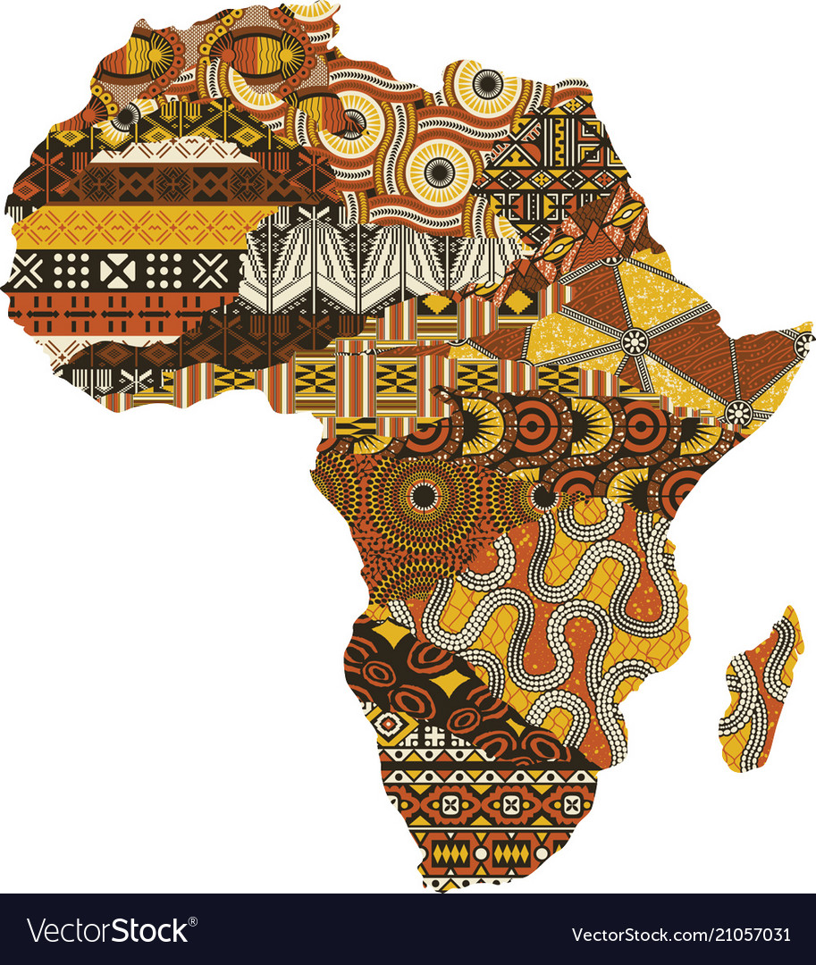 Abstract africa map fabric patchwork