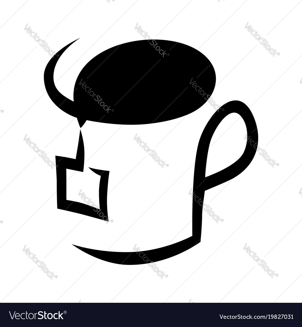 abstract tea cup symbol icon on white royalty free vector vectorstock