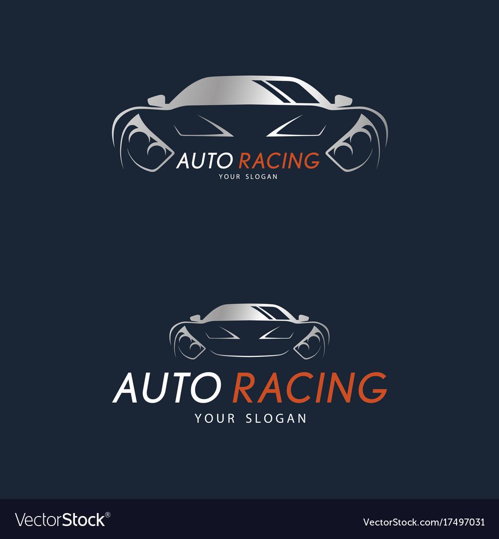 Auto racing symbol on dark blue background