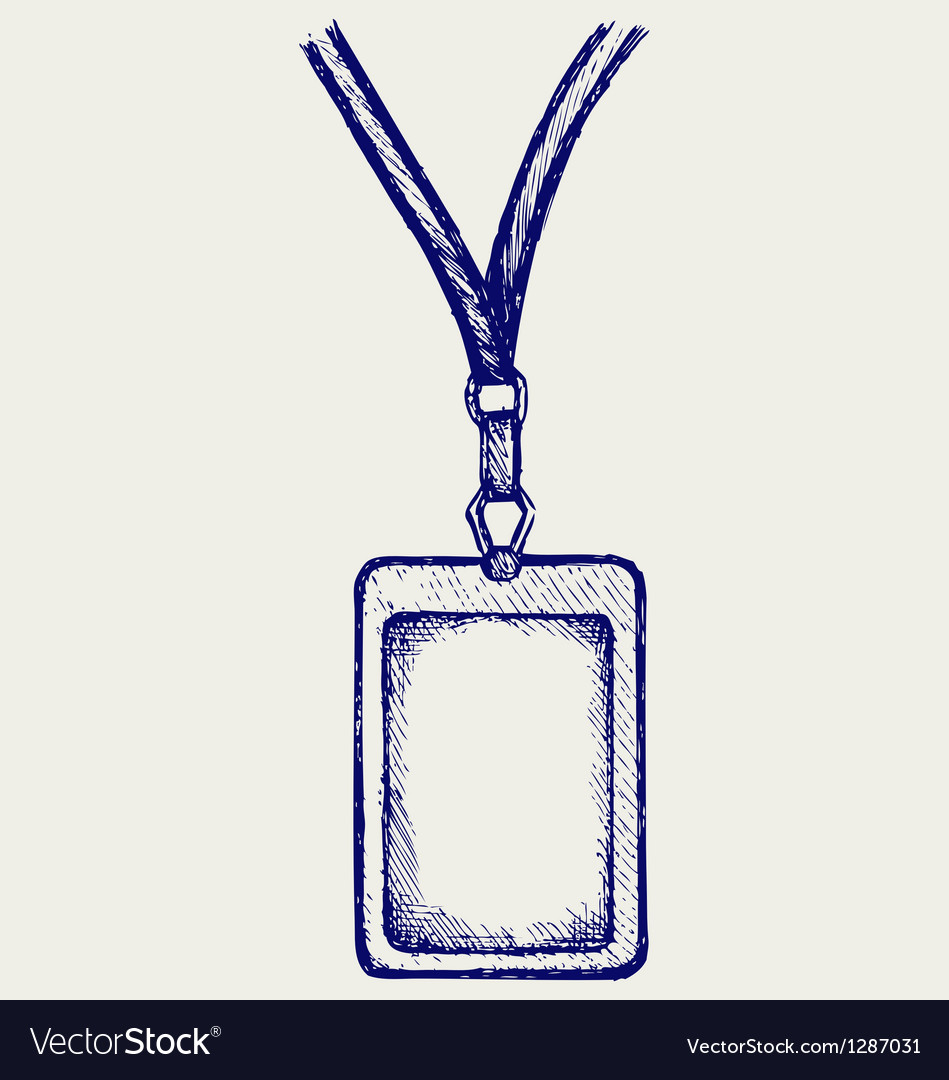 Blank badge with neckband vector image