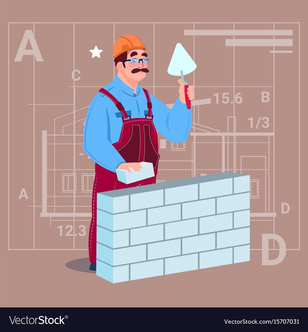Cartoon builder laying brick wall hold spatula