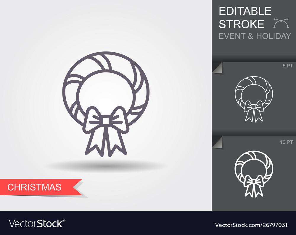 Christmas wreath line icon with editable stroke