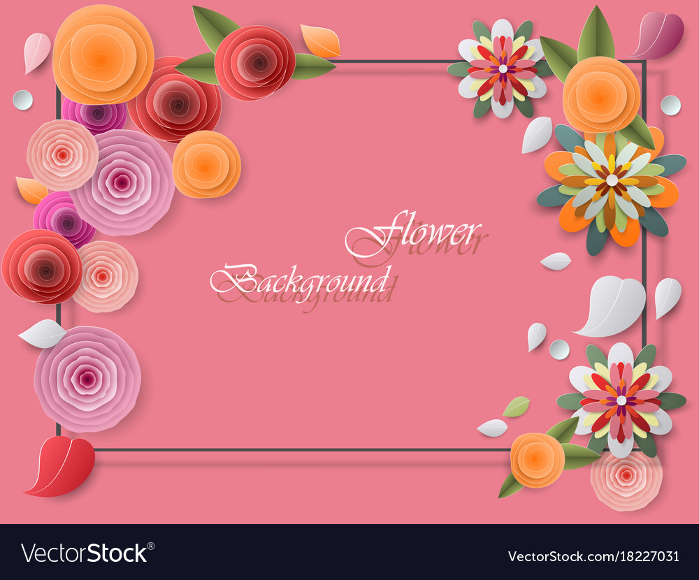 Colorful paper flowers and greeting card frames vector image mightylinksfo