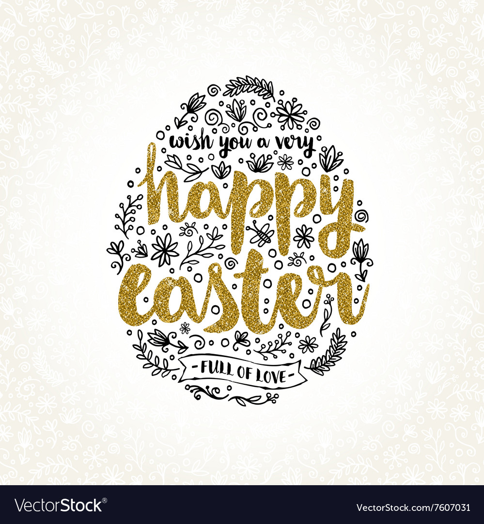 Easter greeting card with hand drawn element and