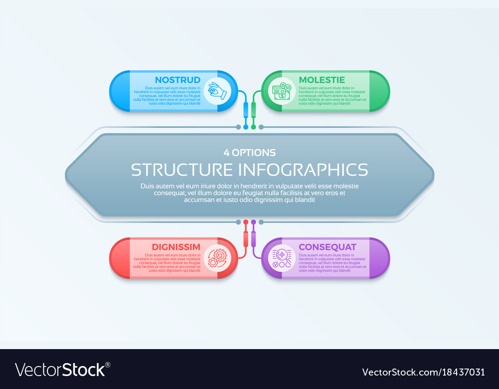 Infographics template with 4 structure elements
