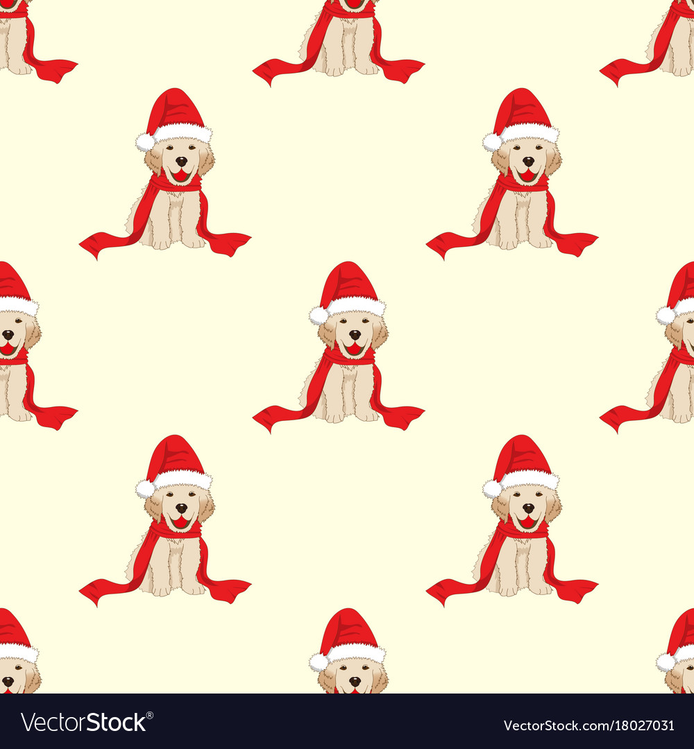 Labrador retriever with santa hat seamless on vector image