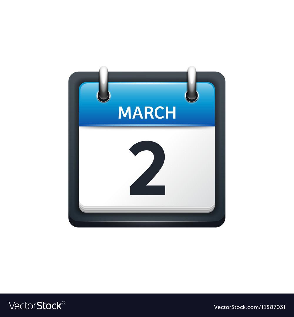 March 2 Calendar icon flat vector image