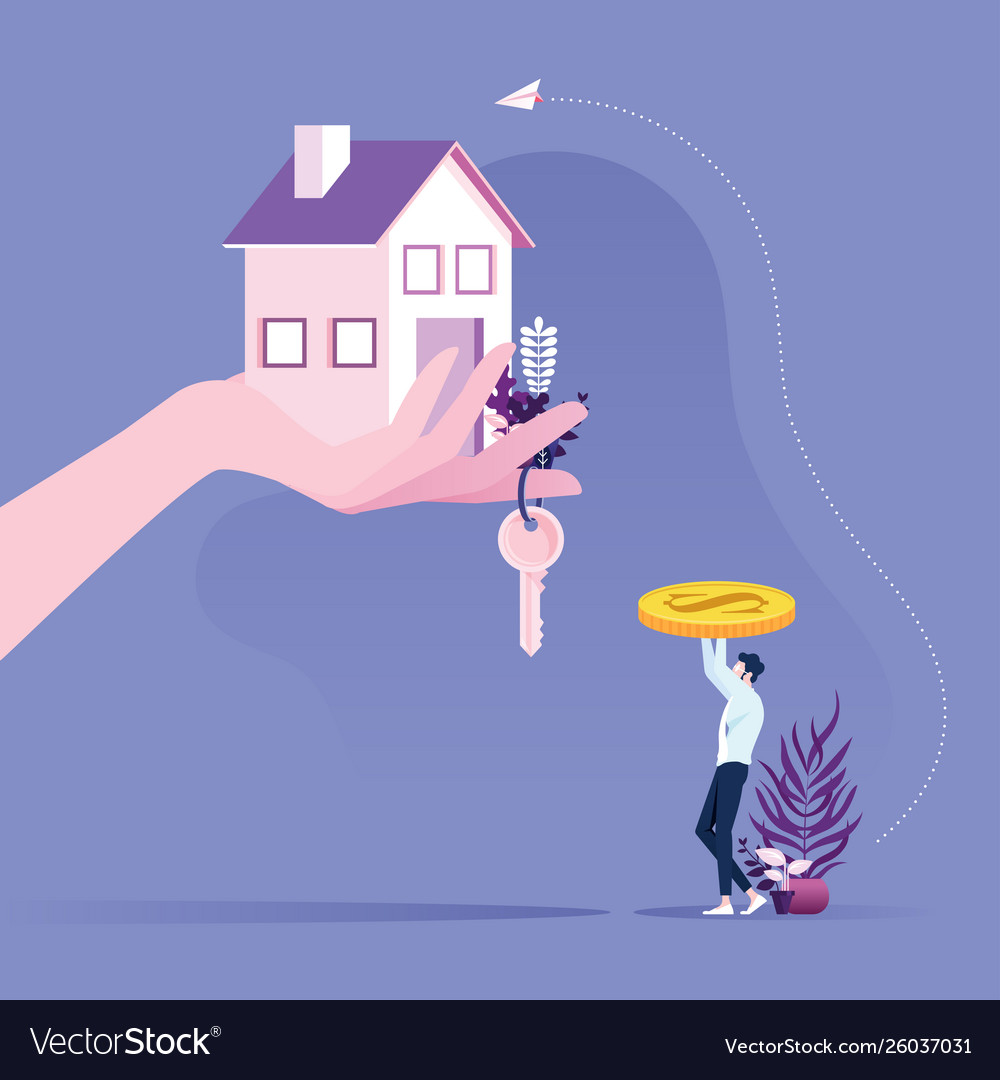 Real estate concept businessman buying a house