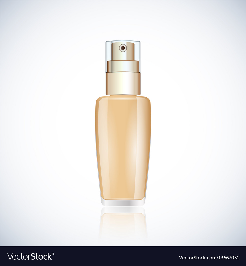 Realistic glass bottle with foundation
