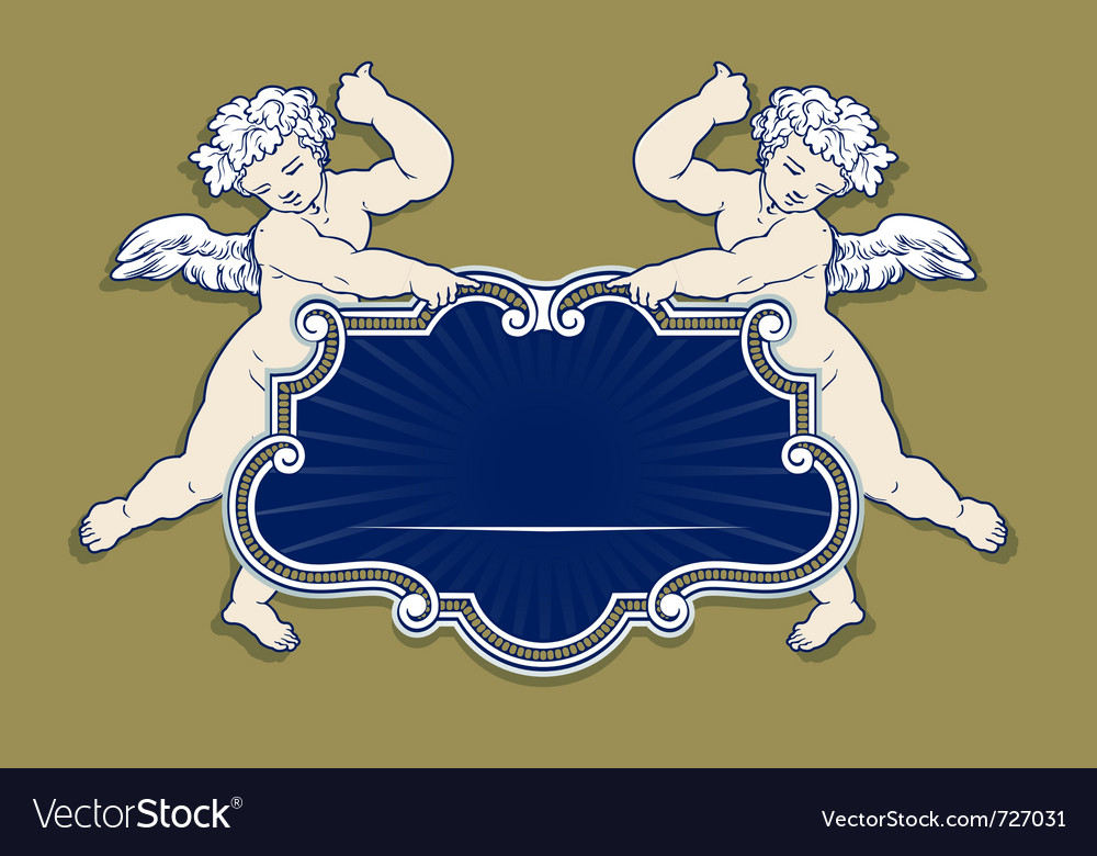 Wing cupid angel frame Royalty Free Vector Image