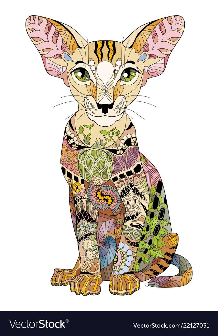 Zentangle stylized cat hand drawn lace
