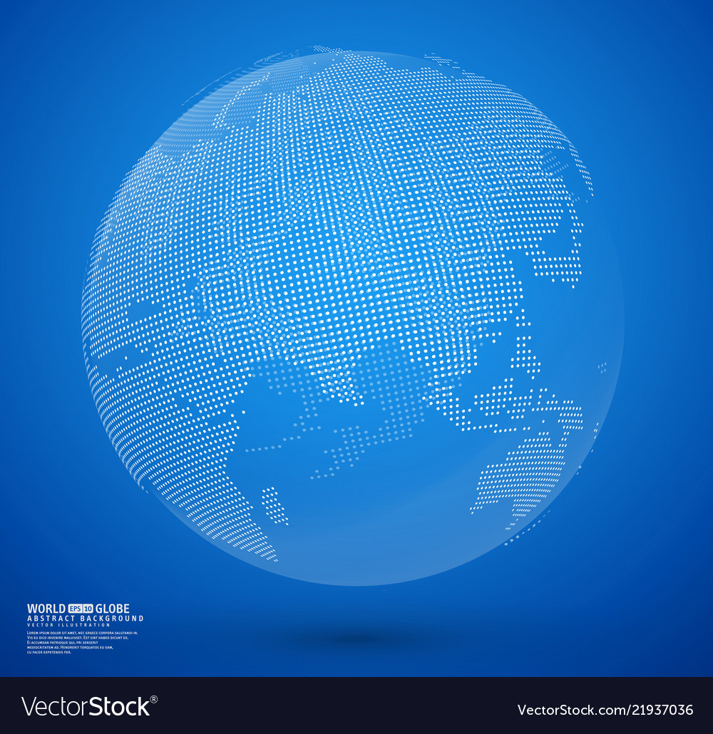 Blue abstract dotted globe