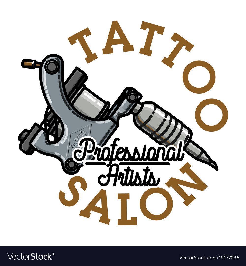 Color vintage tattoo salon emblem