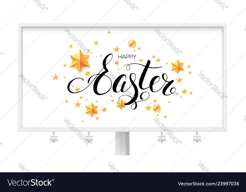 Easter greetings on billboard with calligraphic