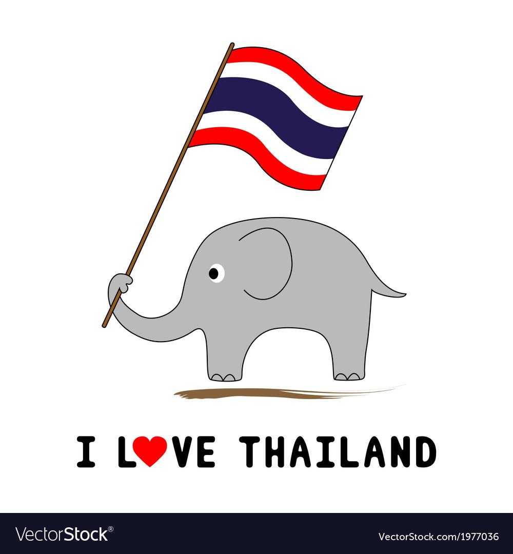 Elephant Hold Thai Flag1 Royalty Free Vector Image