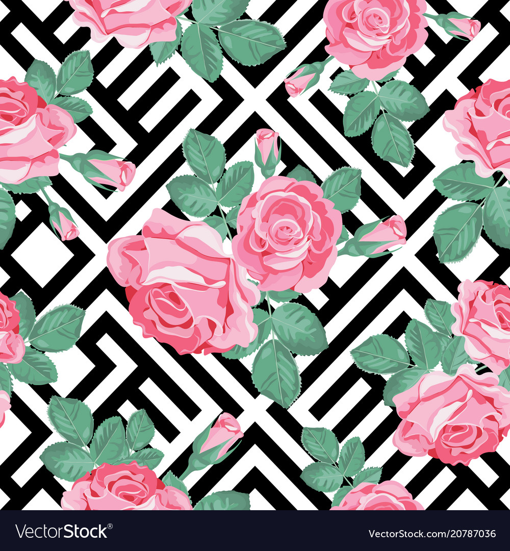 Floral seamless pattern pink roses with leaves on
