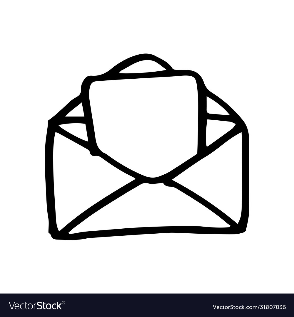 Hand drawn mail symbol doodle icon