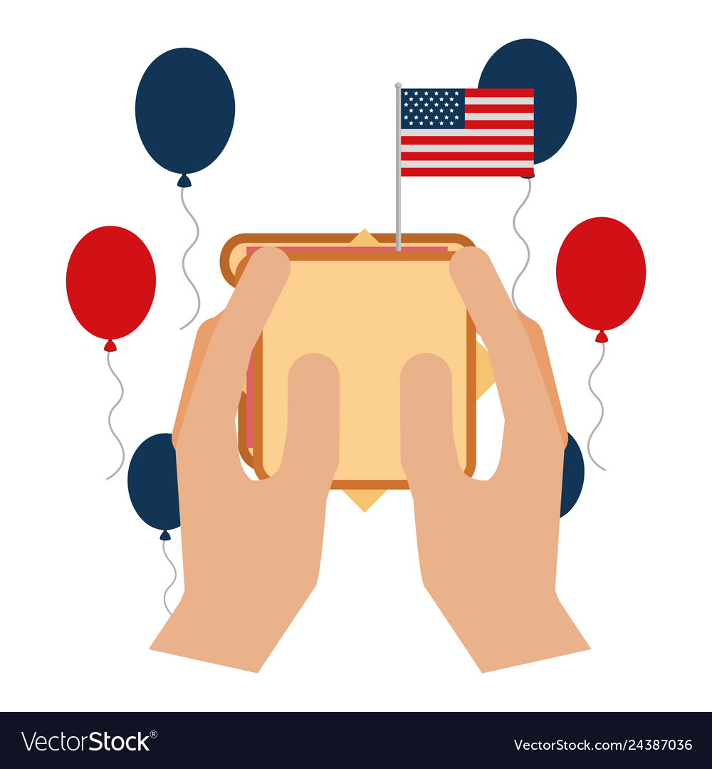 Hands with sandwich balloons and american flag