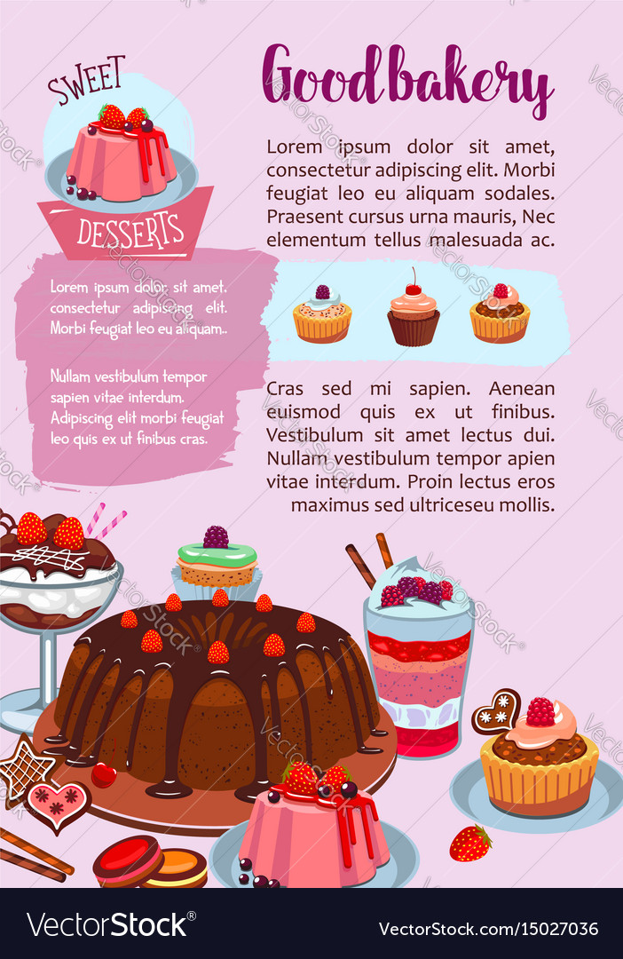 Poster for bakery shop pastry desserts