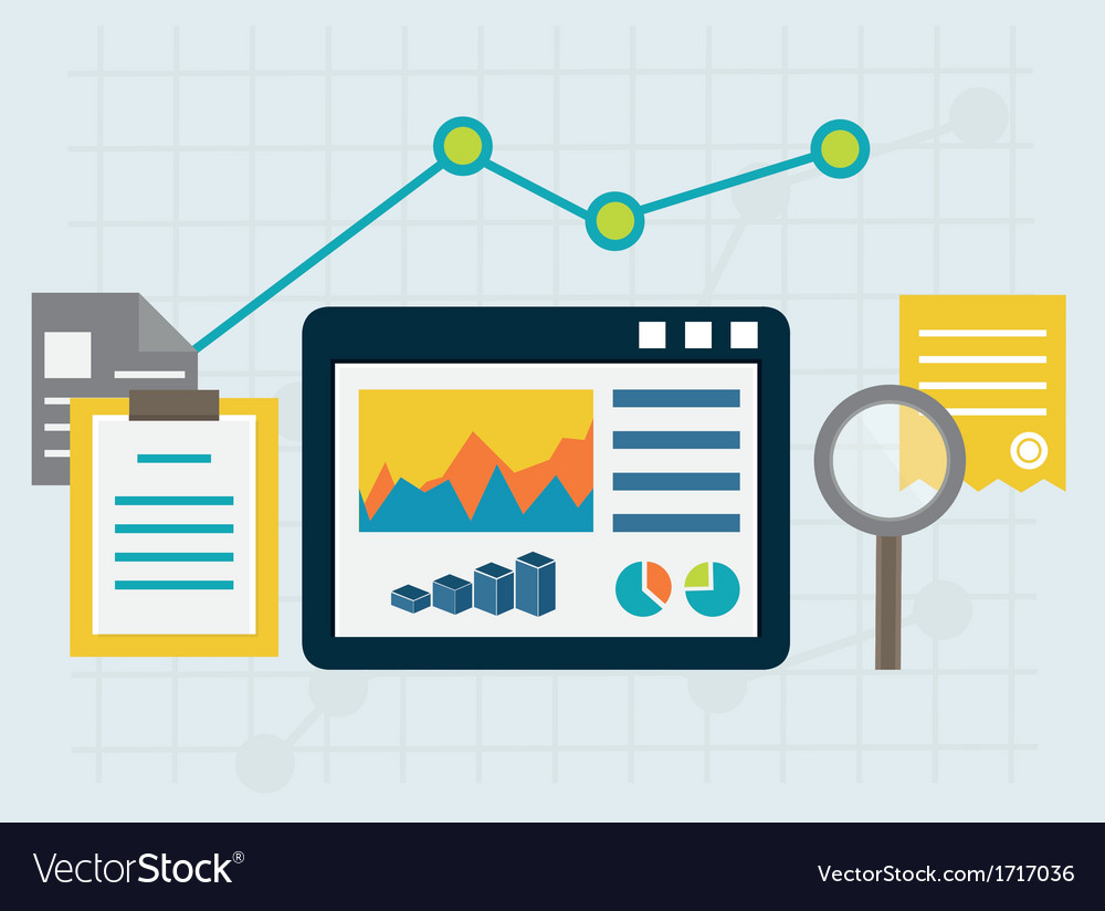 Programming process and web analytics elements vector image