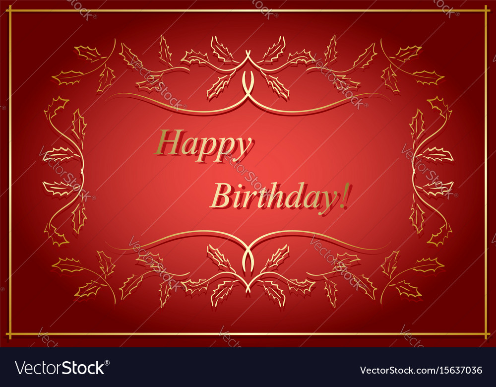 Red And Gold Greeting Card Happy Birthday Vector Image