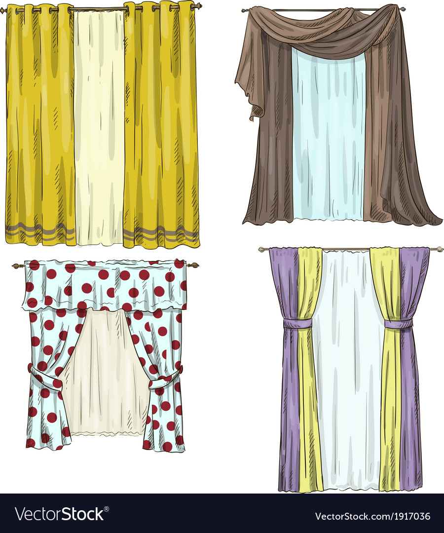 Set of curtains interior details Cartoon style vector image