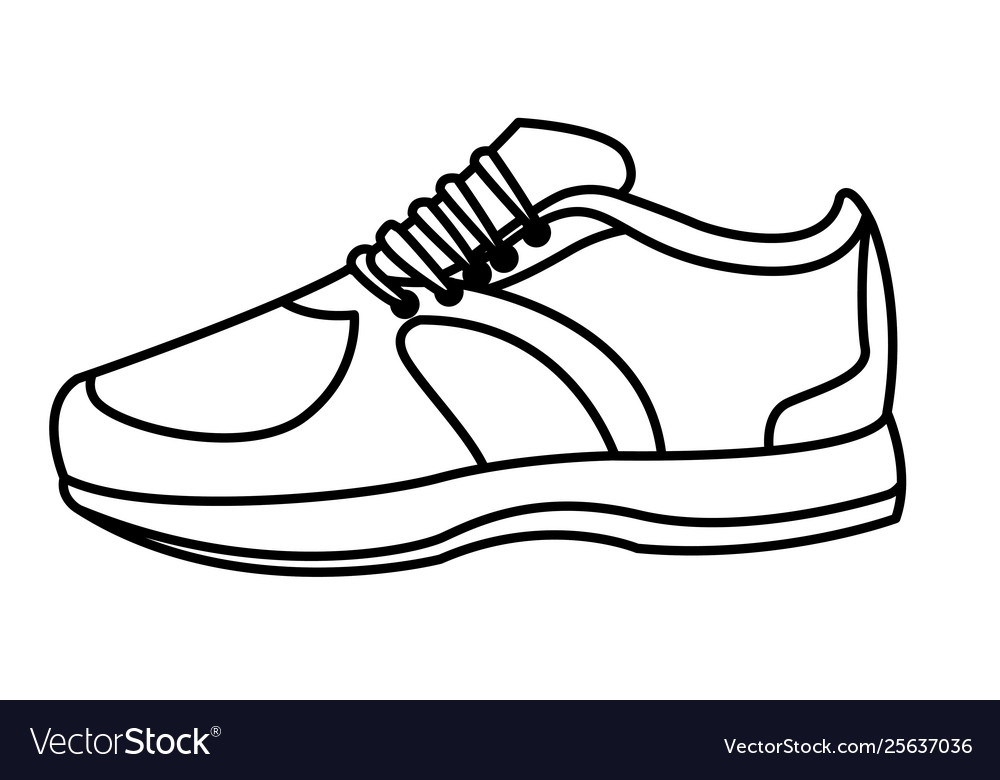 Sneaker With Shoelance Icon Cartoon Black And Vector Image