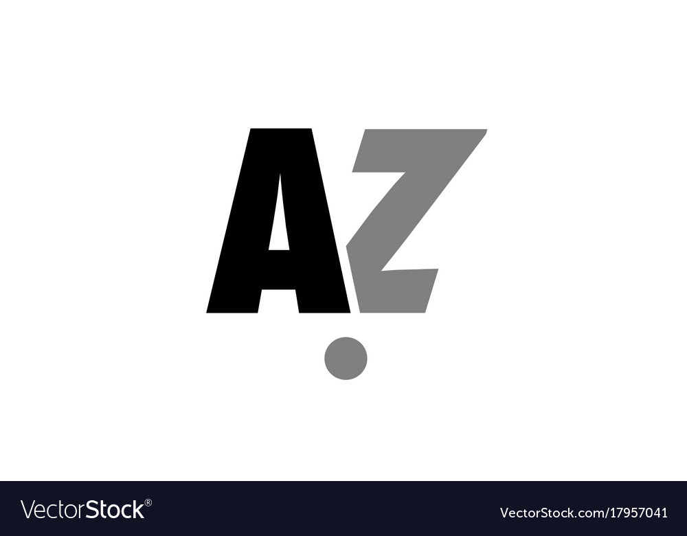Az A Z Black White Grey Alphabet Letter Logo Icon Vector Image