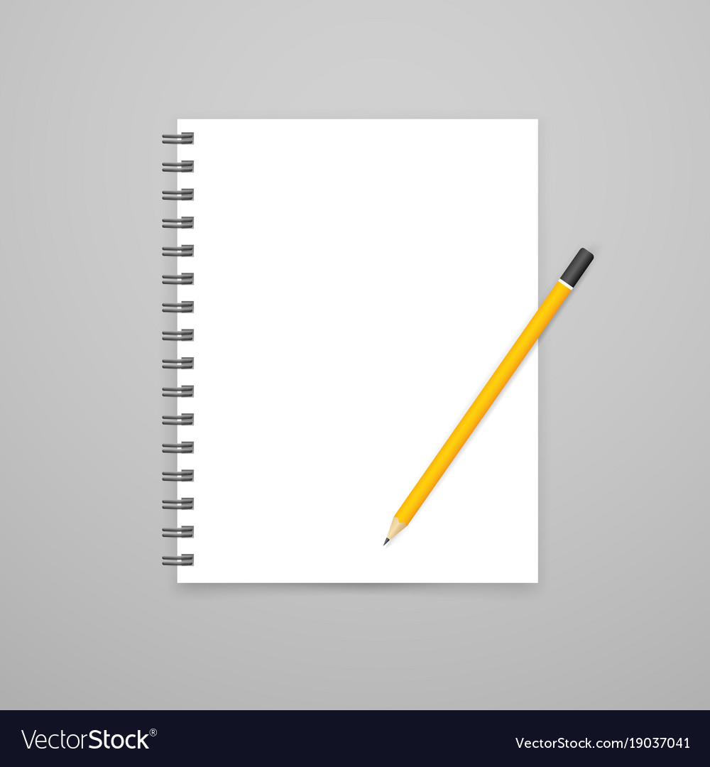 Blank open white notebook with pencil mockup vector image