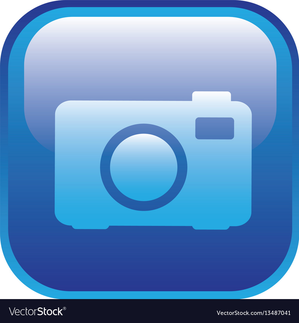 Blue square frame with analog camera icon vector image