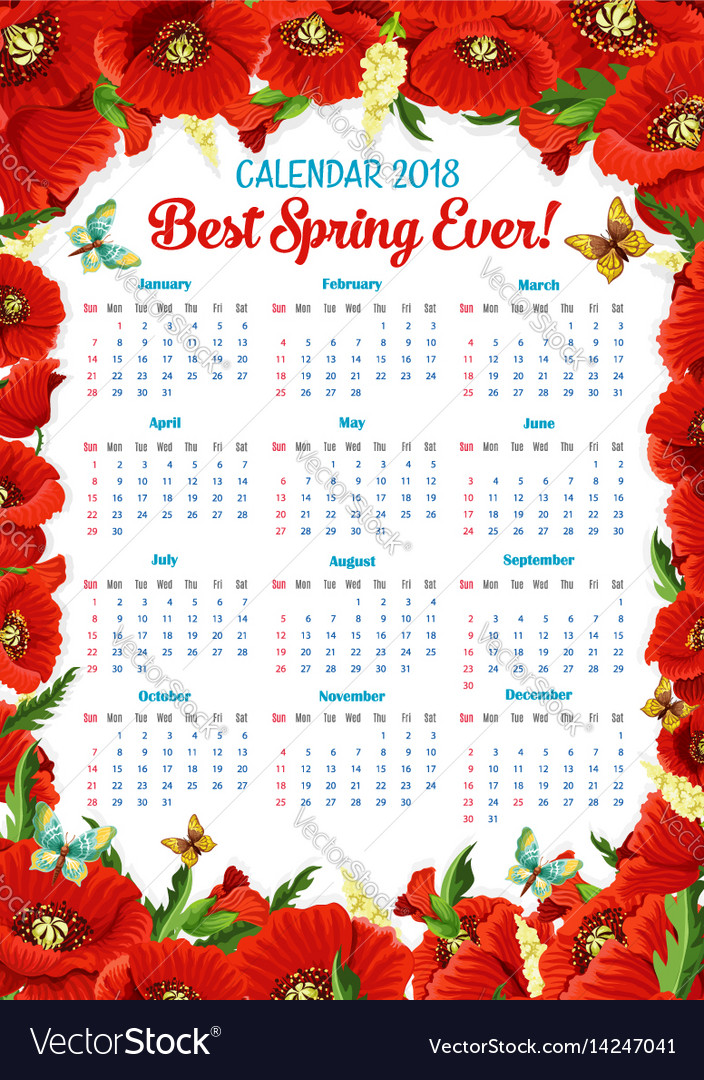 calendar 2018 of spring poppy flowers frame vector image
