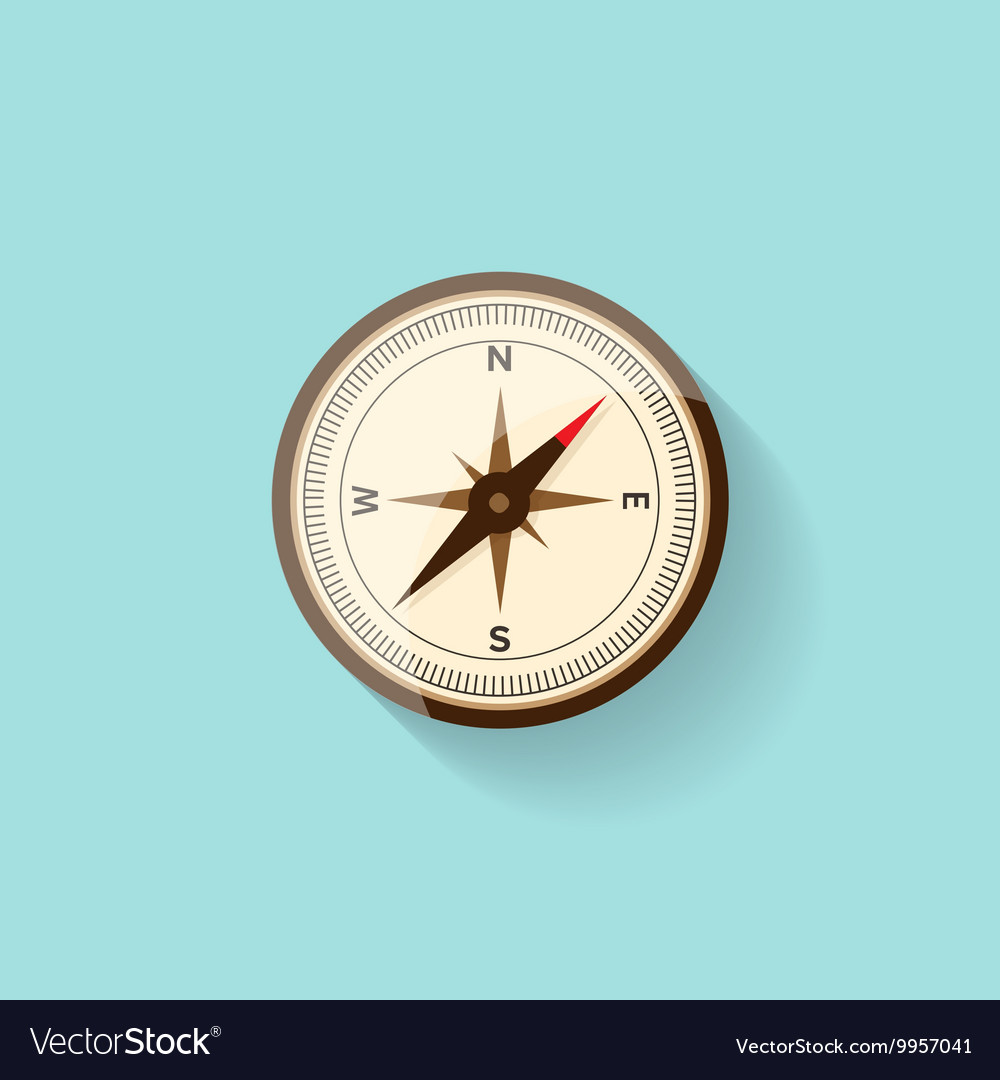 Compass in a flat style Travelhiking camping or