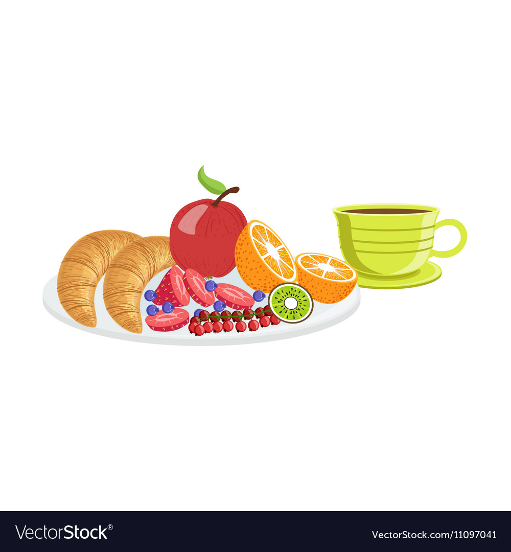 Croissant Fruit And Coffee Breakfast Food Drink vector image