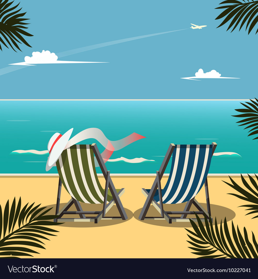 Deck chairs on the beach vector image