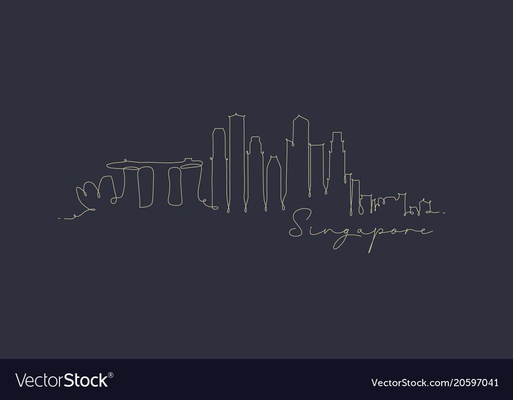 Pen line silhouette singapore dark blue vector image