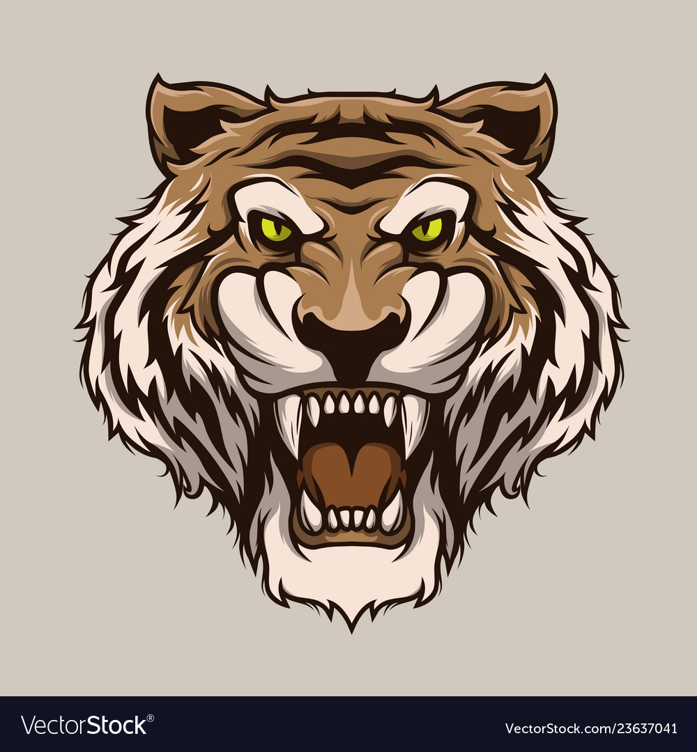 Roaring tiger tiger head mascot