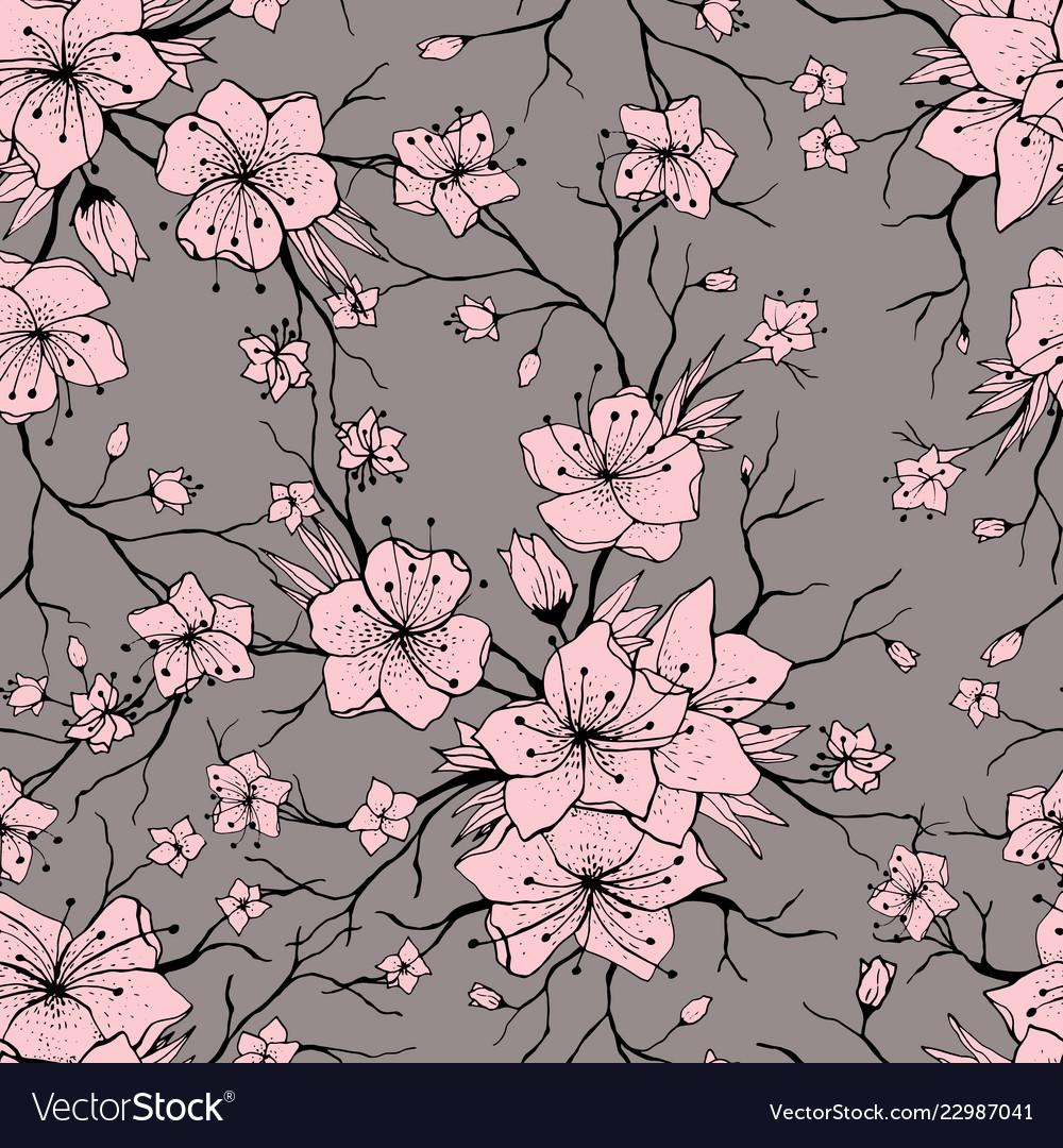 Sakura branches seamless pattern