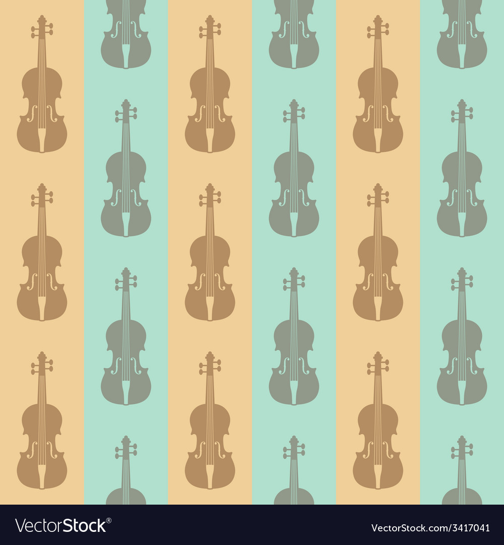 Seamless vintage background with violins vector image