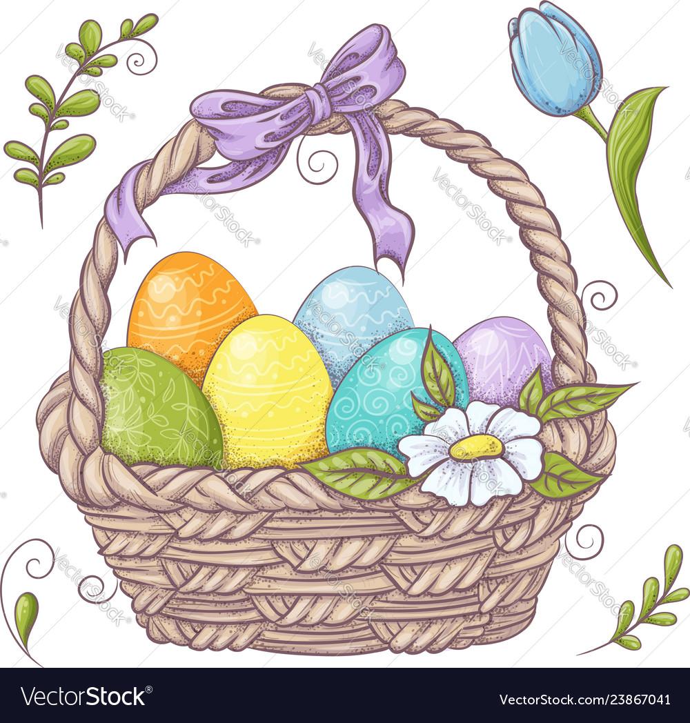 Set easter design elements eggs tulips