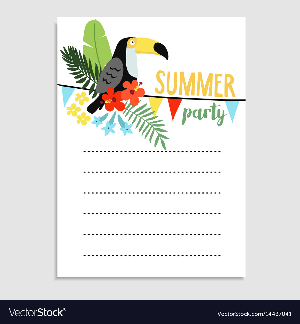Summer birthday party greeting card invitation