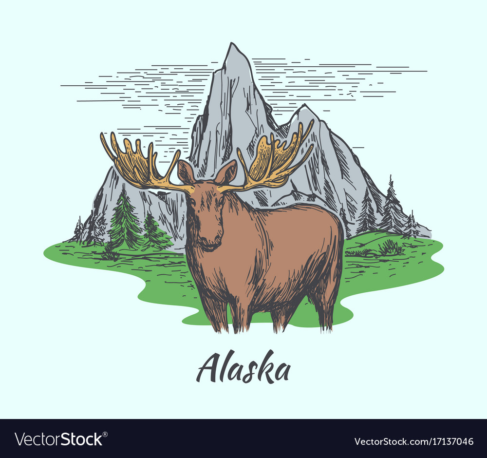 Alaska poster with moose and mountains