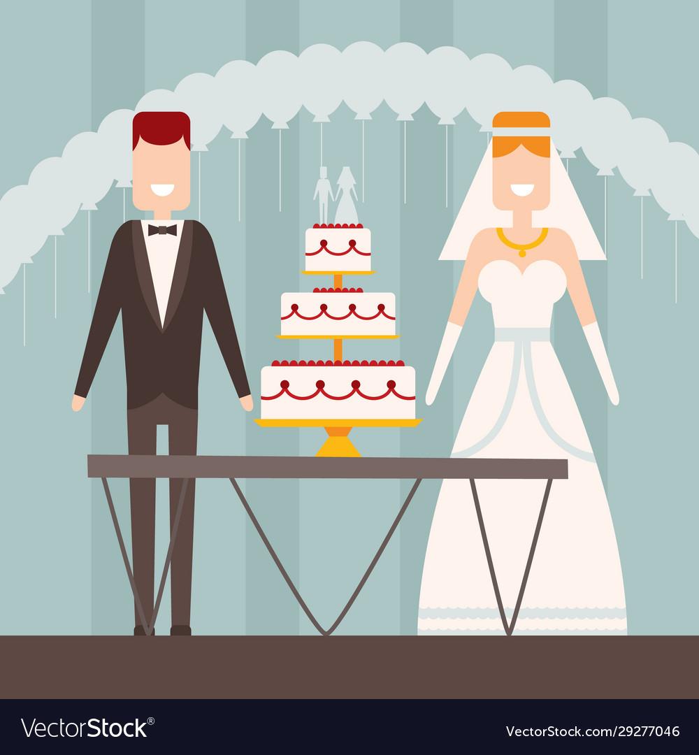 Bride and groom flat style wedding figures