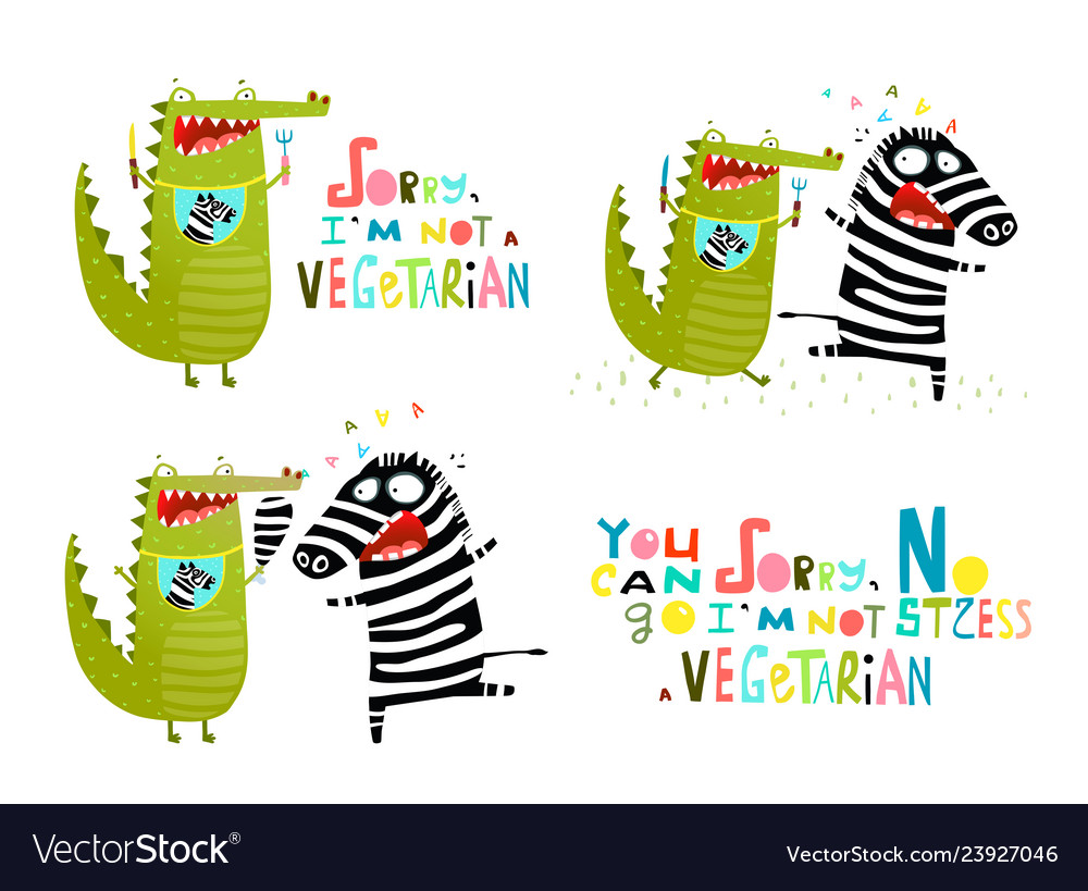 Crocodile and zebra fun vegetarian cartoon