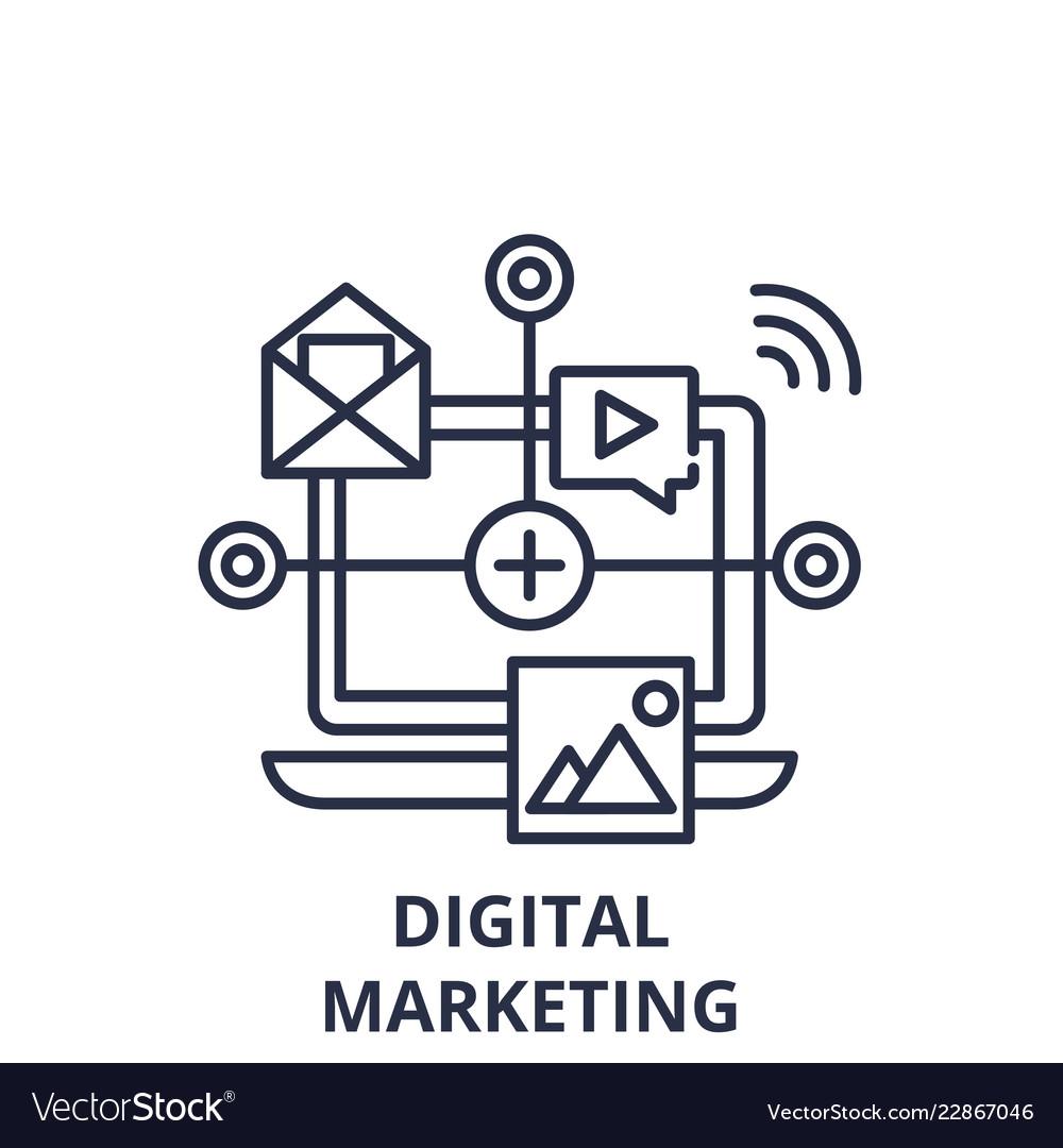 Digital marketing line icon concept digital