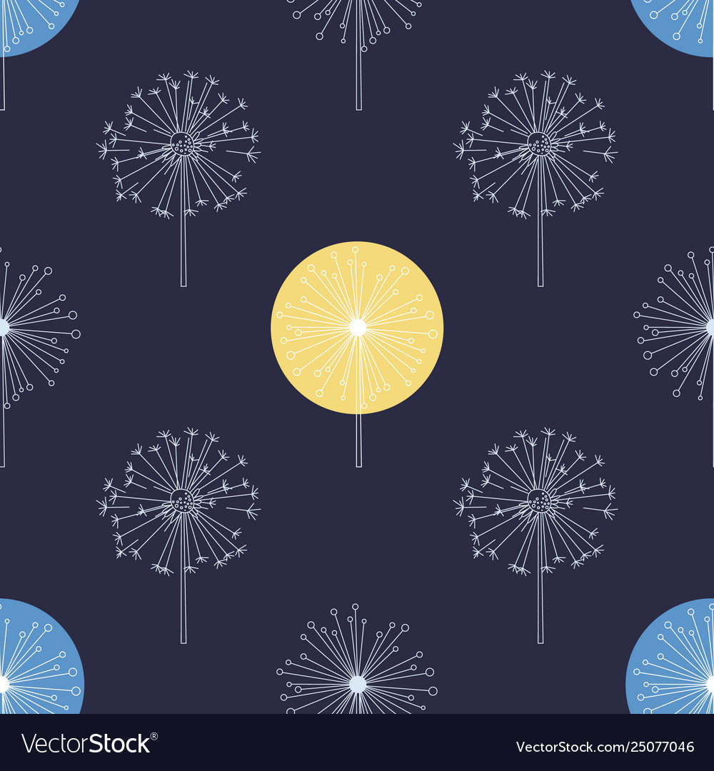 Floral seamless pattern with white dandelions