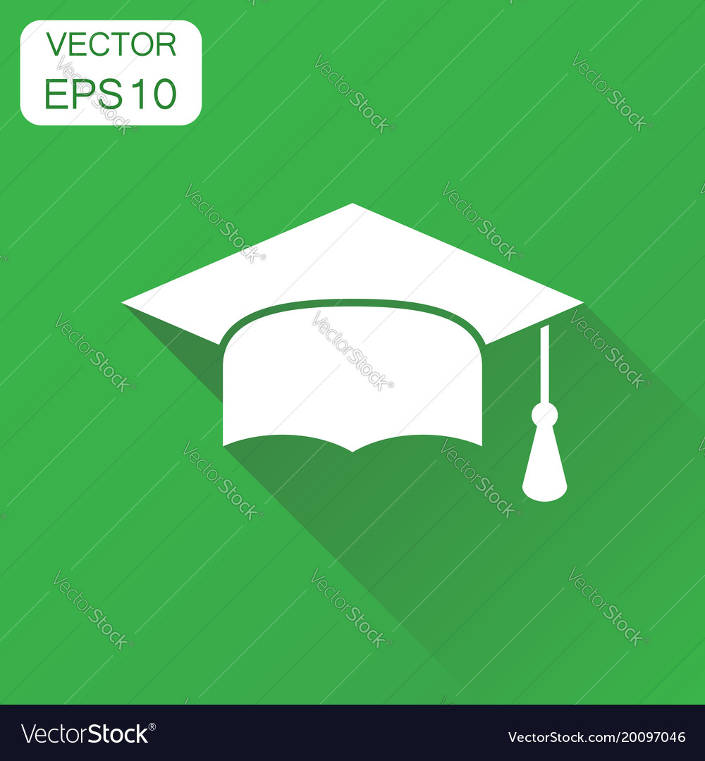 Graduation cap icon business concept finish