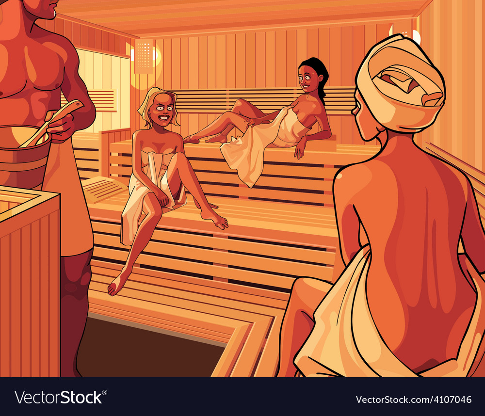 Interior of the steam room in the sauna