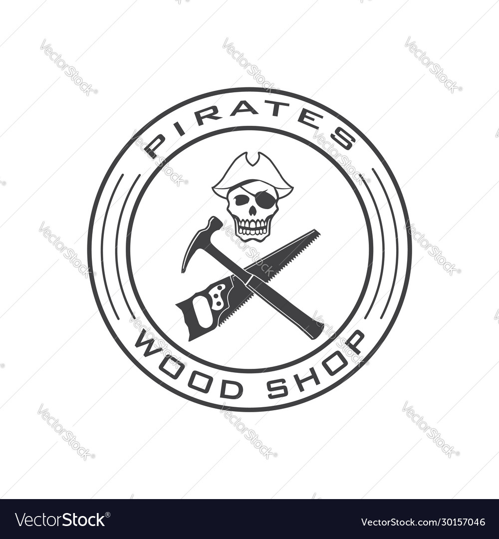 Pirate skull logo template for wood shop